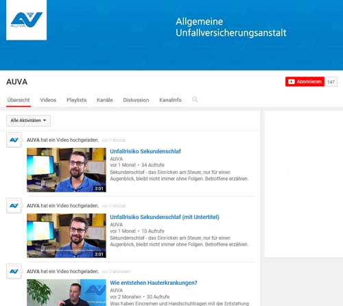 Screenshot des AUVA-Channels auf YouTube